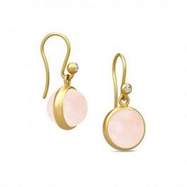 PRIME ørehængere med rosa krystal-20