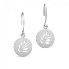 TREE OF LIFE Øresmykker med udskåret blad sølvrhodineret-20