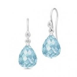 EVENING DEW sølv ørehængere med blå krystal-20