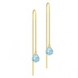 EVENING DEW ørehængere kæde med blå krystal-20