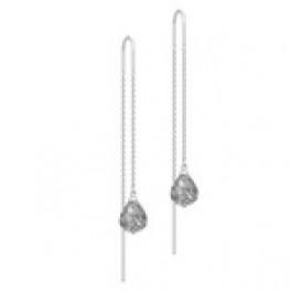 EVENING DEW sølv ørehængere kæde med grå krystal-20