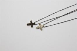 sort rhodineret halskæde, kors-20