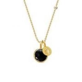 PRIME halskæde med 2 vedhæng sort krystal-20