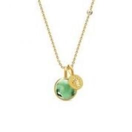 PRIME halskæde med 2 vedhæng grøn krystal-20