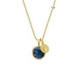 PRIME halskæde med 2 vedhæng mørkeblå krystal-20