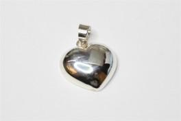 Hjerte vedhæng i sølv, flad, stor-20