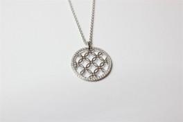 Sølv halskæde m. cirkel og blomster-20