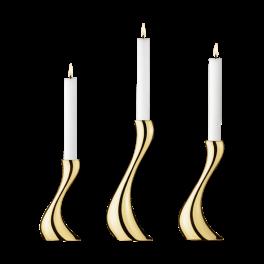 Cobra lysestage sæt med 3, forgyldt-20