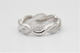 Waves sølv ring med zirkonia-20