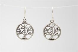 Livets træ, ørehængere i sølv m. oxydering-20