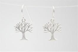 Sølv ørehængere med matteret livets træ-20