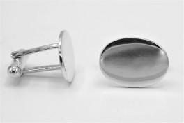 sølv manchetknapper, blank og oval-20