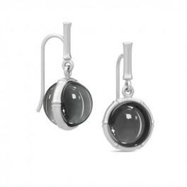 BAMBOO Sølv ørehængere med hæmatitkvarts-20