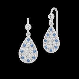 PEACOCK sølv ørehængere, klar og blå-20