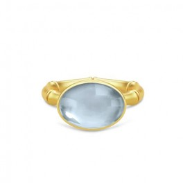 BAMBOO Forgyldt Wisdom Ring Aqua Blue-20
