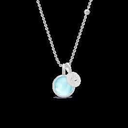 PRIME sølv halskæde, lyseblå-20
