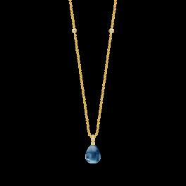 BLOOM forgyldt halskæde, safirblå krystal-20