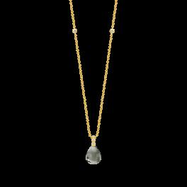 BLOOM forgyldt halskæde, varm grå krystal-20