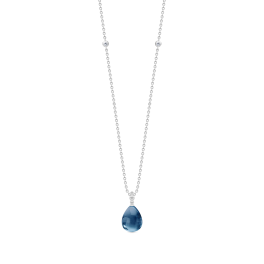 BLOOM sølv halskæde, safirblå krystal-20