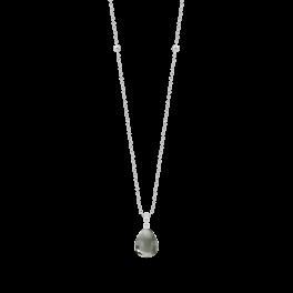 BLOOM sølv halskæde, varm grå krystal-20