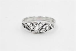Sølv ring, buet med mønster-20