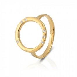 Cirkel ring, forgyldt med zirkoner-20