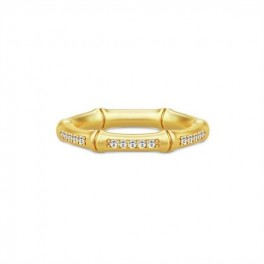 BAMBOO Forgyldt ring, zirkoner-20