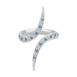 PEACOCK sølv ring, klar og blå-20