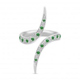 PEACOCK sølv ring, klar og grøn-20