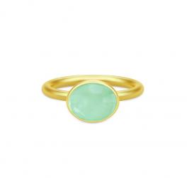 LOLA forgyldt ring, grøn-20