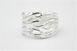 Waves sølv ring, bred-20