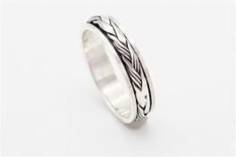 Bevægelig ring med oxyderinger, sølv-20