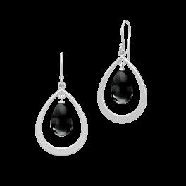 PRIME sølv dråbe ørehængere, sort-20