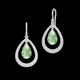 PRIME sølv dråbe ørehængere, grøn ametyst-20