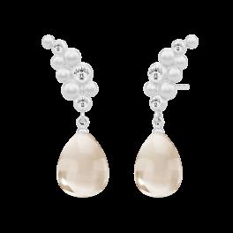 Bloom sølv ørestikker, nude krystal-20