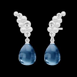 BLOOM sølv ørehængere, safirblå krystaller-20
