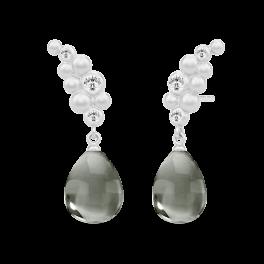 BLOOM sølv ørehængere, varm grå krystal-20