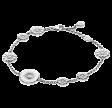 DAISY armbånd med små sølv blomster og en hvid