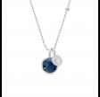 PRIME halskæde med 2 vedhæng safirblå krystal, sølv